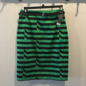 Worthington Green Striped Pencil Skirt with Belt